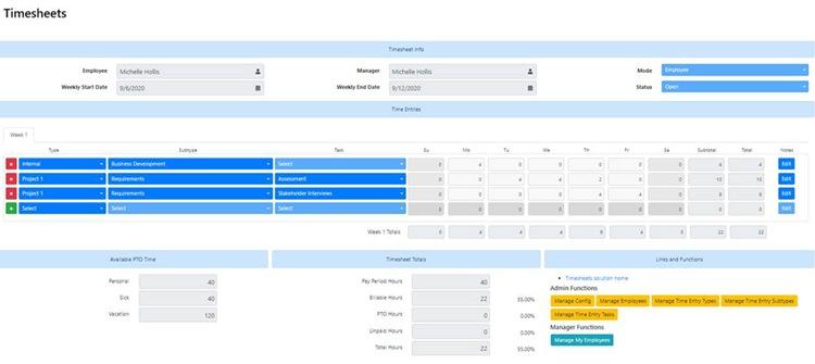 Timesheets for SharePoint Screenshot